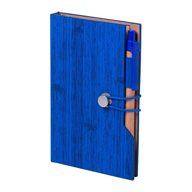 Blok s deskami z PU kůže a se 70 listy a recyklovaným kuličkovým perem (s modrou náplní). Včetně lepicích lístků (25 velkých a 5 × 25 malých). - modrá - foto