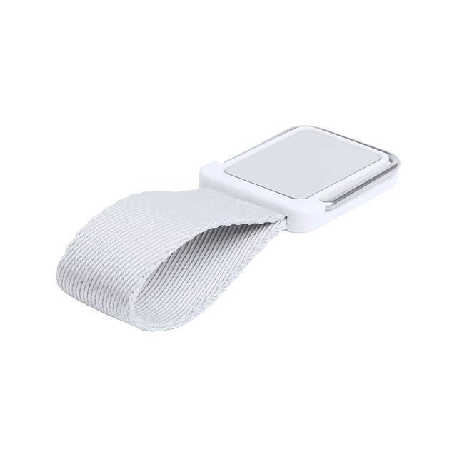 Stojánek na mobil kov/plast s polyesterovým páskem a se samolepící plochou. - šedá - foto