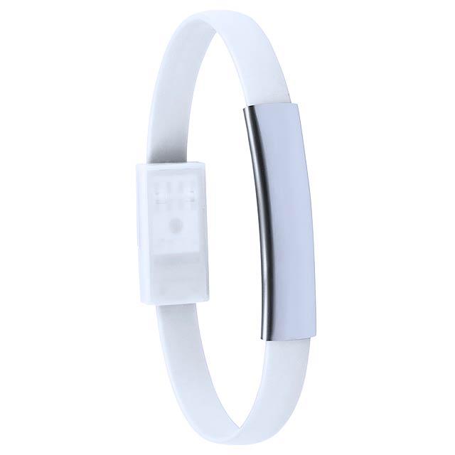 Leriam náramek s USB nabíjecím kabelem - bílá