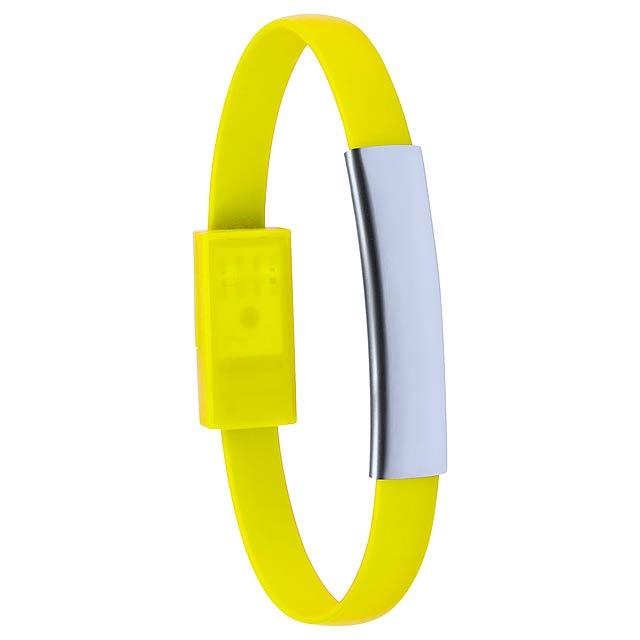 Ceyban náramek s USB nabíjecím kabelem - žlutá