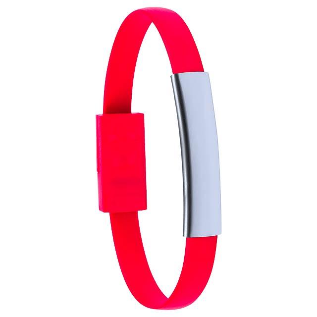 Ceyban náramek s USB nabíjecím kabelem - červená