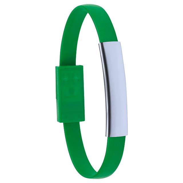 Ceyban náramek s USB nabíjecím kabelem - zelená