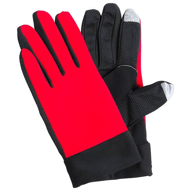 Vanzox dotykové sportovní rukavice - červená