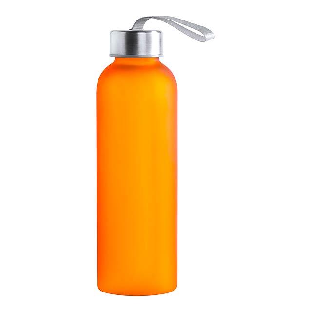 Plastová sportovní láhev na pití s poutkem,  590 ml. Obsah: 580 ml - oranžová - foto