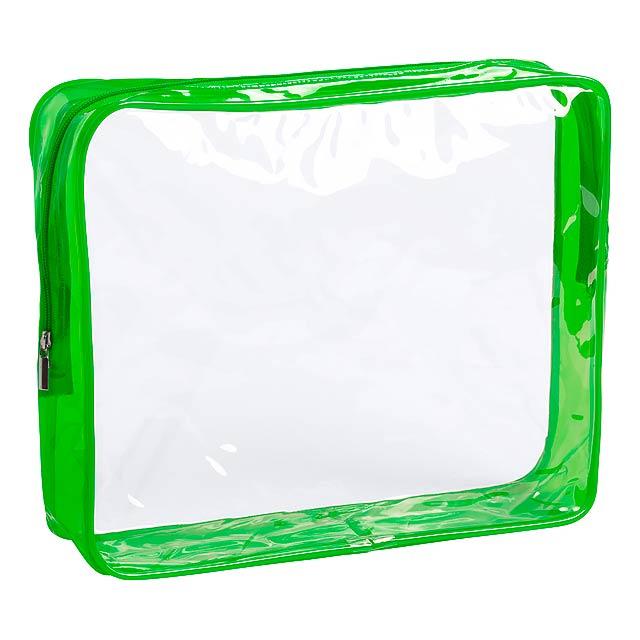Kosmetická transparentní taštička na zip z PVC. - zelená - foto