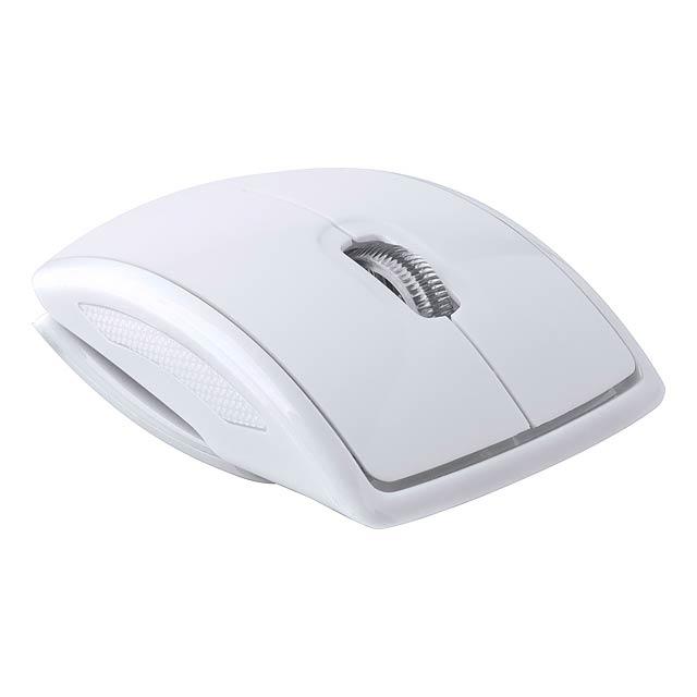 Skládací bezdrátová optická myš. Dodáváno bez 2 AAA baterií.  - bílá - foto