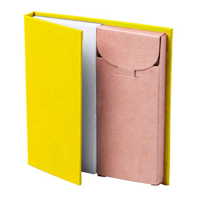 Vázaný poznámkový blok s 60 prázdnými listy a s lepenkovou krabičkou se 6 pastelkami. - žlutá - foto