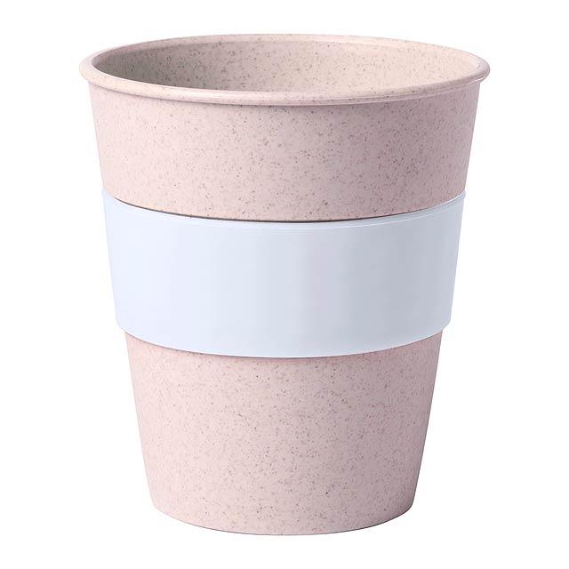 Kelímek na pití z bambusových vláken a barevným silikonovým úchopem, 380 ml. Obsah: 380 ml - bílá - foto