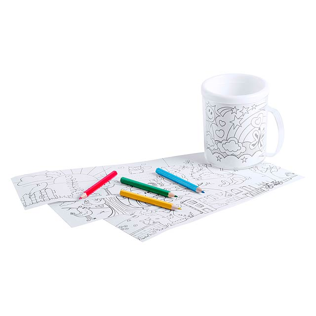 Plastový hrnek pro děti s vyměnitelnými omalovánkami a 4 pastelkami, 320 ml. Obsah: 320 ml - multicolor - foto