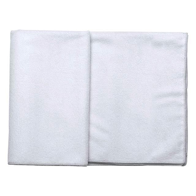 Barevný ručník z mikrovlákna s bílou bordurou, 260 g/m2. - bílá - foto
