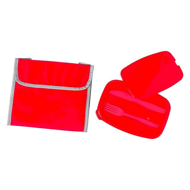Polyesterový chladící taška s hliníkovou podšívkou a barevně odpovídající plastovou krabičkou, 1000 ml. Vyrobeno z polyesteru 600D. - červená - foto