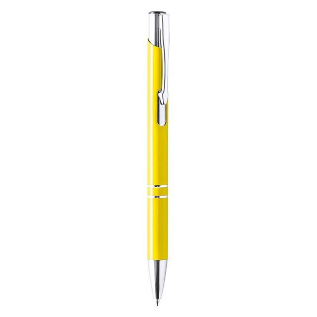 Hliníkové kuličkové pero s kroužky, chromovým klipem a špičkou, s jumbo náplní. - žlutá - foto