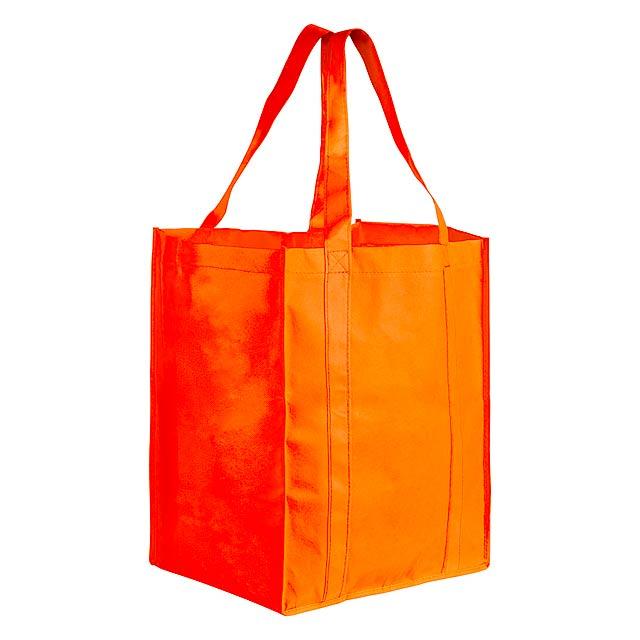 Nákupní taška z netkané textilie s dlouhými a vyztuženými uchy, nosnost 10 kg.  - oranžová - foto