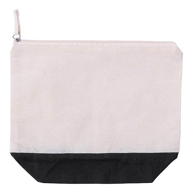 Kosmetická taška s barevnou spodní částí, 100% bavlna.  - černá - foto