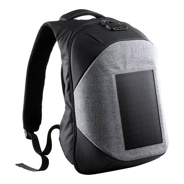 Batoh se solárním panelem, připojením USB, polstrovaný prostor pro notebook a tablet, polstrovaná záda a ramenní popruhy a kombinovaný zámek. Nylon 1200D. - šedá - foto