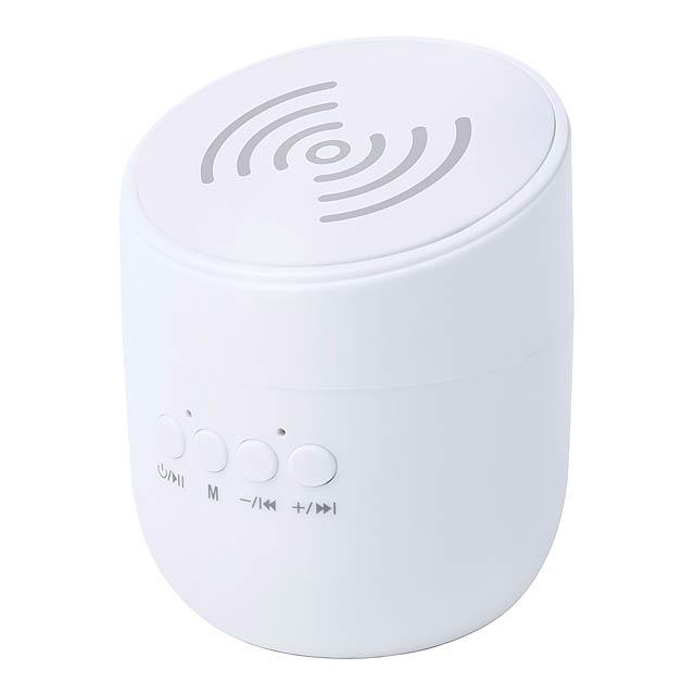 Bluetooth reproduktor s vestavěnou bezdrátovou mobilní nabíječkou. - bílá - foto