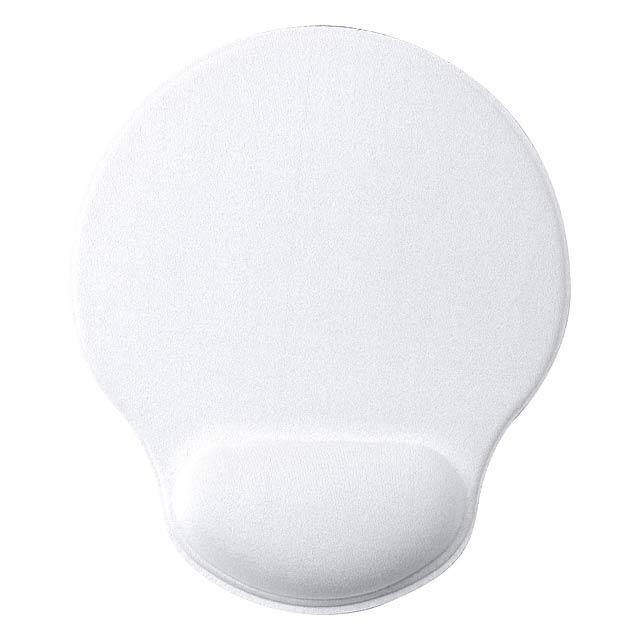 Polyesterová podložka pod myš se silikonovým spodkem a polstrovanou opěrkou zápěstí. - bílá - foto