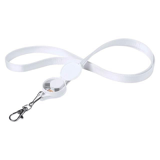 Nabíjecí kabel z polyesteru s konektorem micro USB, Typ-C a Lightning a kovovou karabinou. - bílá - foto
