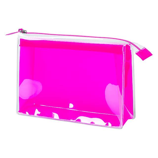Plastová kosmetická taška se zapínáním na zip a průhlednou přední stranou,  EVA materiál. - fuchsiová (tm. růžová) - foto