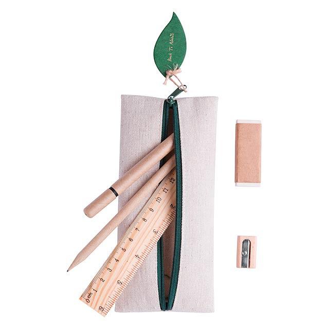 Jutové a bavlněné pouzdro na pera s knoflíkovým uzávěrem, včetně pera, tužky, pravítka, ořezávátka a gumy. - multicolor - foto