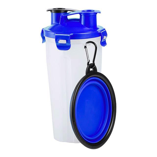 Sada na krmení pro domácí zvířata, včetně láhve se dvěma přihrádkami (pro potraviny a tekutiny) a skládací silikonové misky. Obsah: 900 ml - modrá - foto