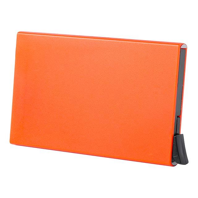 Vizitkář s RFID ochranou na 5 karet  s posuvným a vyjímacím mechanismem. - oranžová - foto
