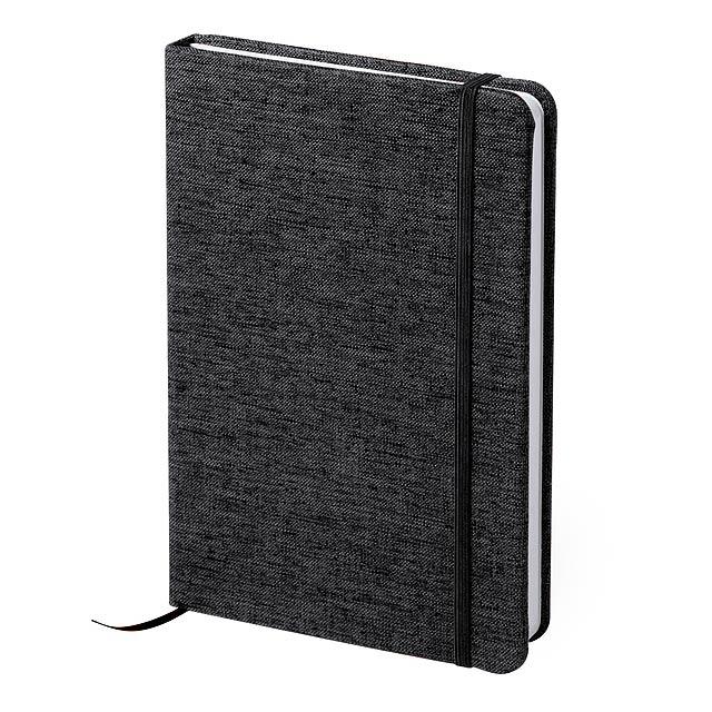 Blok s 80 linkovanými listy, měkkými polyesterovými deskami a barevně odpovídající gumičkou a záložkou. - černá - foto