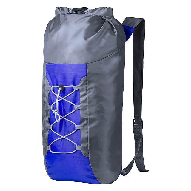 Skládací batoh z odolného polyesteru 210D proti roztrhnutí, se sponou, elastickými pásky a nastavitelnými ramenními popruhy. - modrá - foto