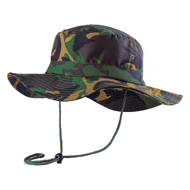 Vojenský maskovací barevný klobouk z mikrovlákna. S kovovými očky a šňůrkami v armádní zelené barvě. - multicolor - foto