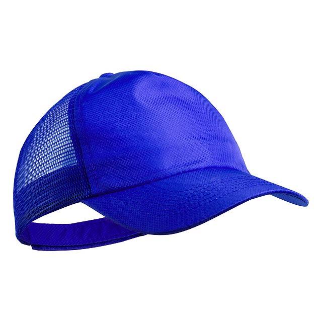 5 panelová baseballová čepice z polyesteru a mikrovlákna. S zadní stranou ze síťoviny a odpovídajícím barevným zapínáním na suchý zip. - modrá - foto