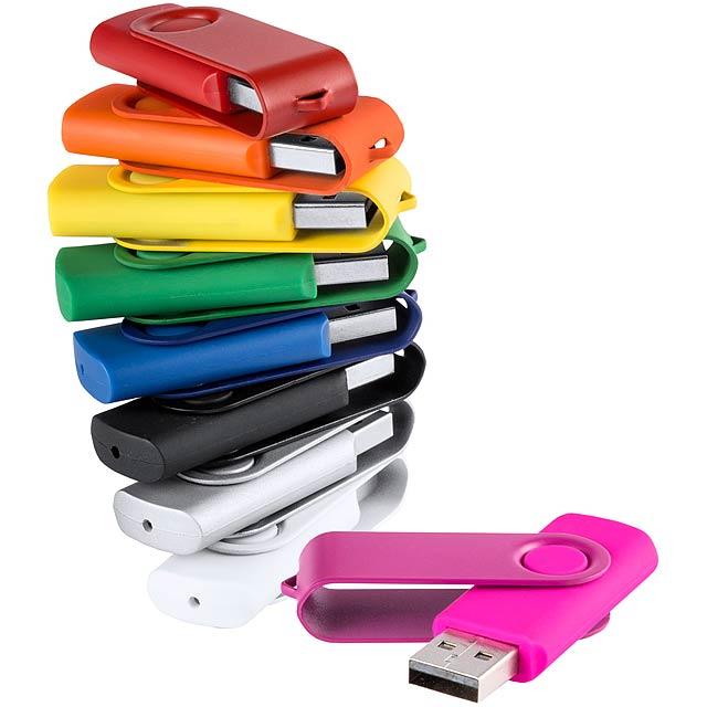 Twist 16 GB USB flash disk s hladkým tělem a barevně odpovídající kovovým klipem. Individuální balení. - stříbrná - foto