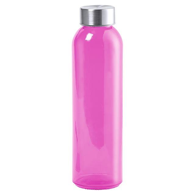 Transparentní skleněná sportovní láhev na pití s kovovým víčkem, 500 ml. V dárkové krabičce. Obsah: 500 ml - růžová - foto