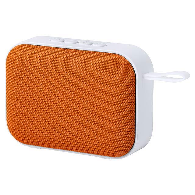 Bluetooth reproduktor s hands-free voláním, FM rádiem, USB a funkcí micro SD přehrávače. S plastovým pouzdrem, polyesterovou tkaninou reproduktoru a dobíjecí baterií. Včetně nabíjecího kabelu USB. - oranžová - foto