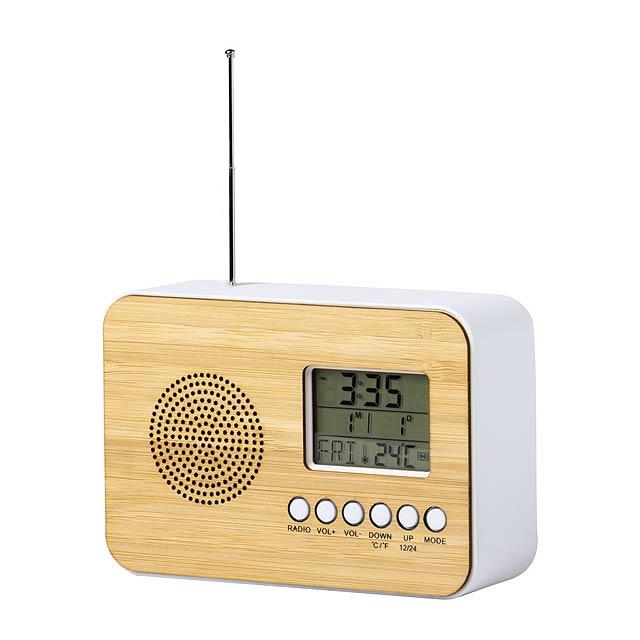 Tulax stolní rádio s hodinami - dřevo