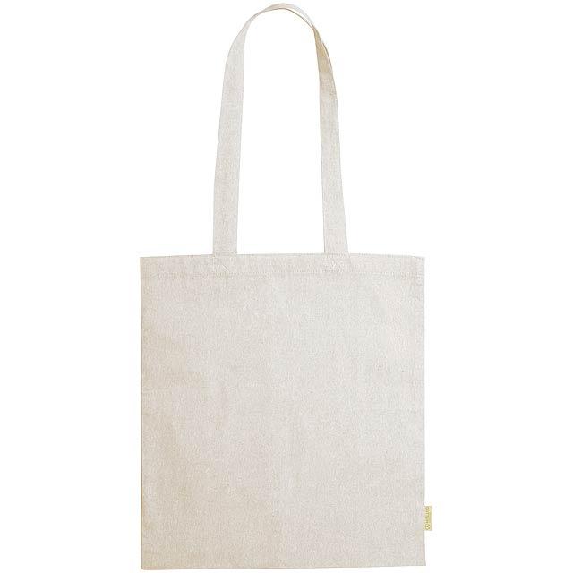 Opakovaně použitelná nákupní taška z recyklované bavlny s dlouhými uchy, 120 g/m². - béžová - foto