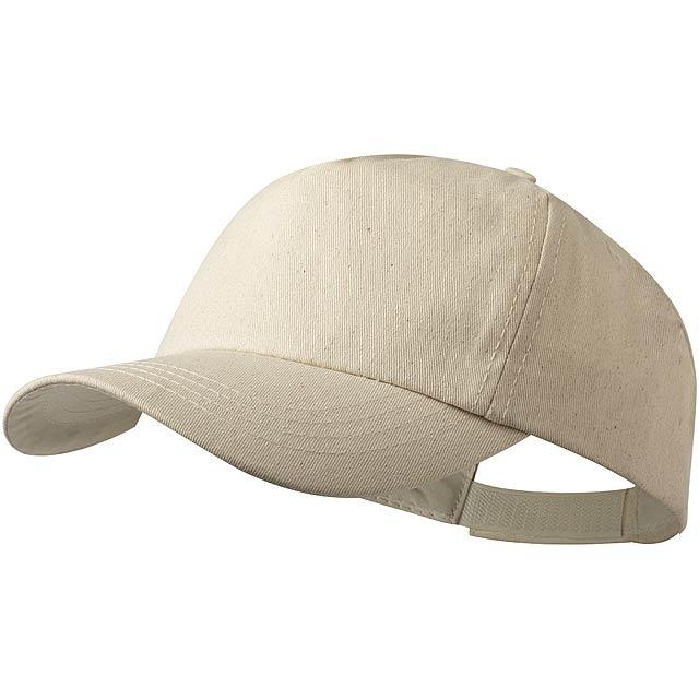 Baseballová čepice s 5 panely a zapínáním na suchý zip ze 100% organické bavlny, 180 g/m². - béžová - foto
