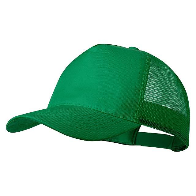 5 panelová polyesterová baseballová čepice s zadním dílem ze síťoviny a nastavitelným plastovým páskem.  - zelená - foto