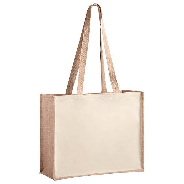 Nákupní taška v kombinaci z laminované juty a laminované bavlny s dlouhými uchy. Nosnost: 12 kg. - béžová - foto