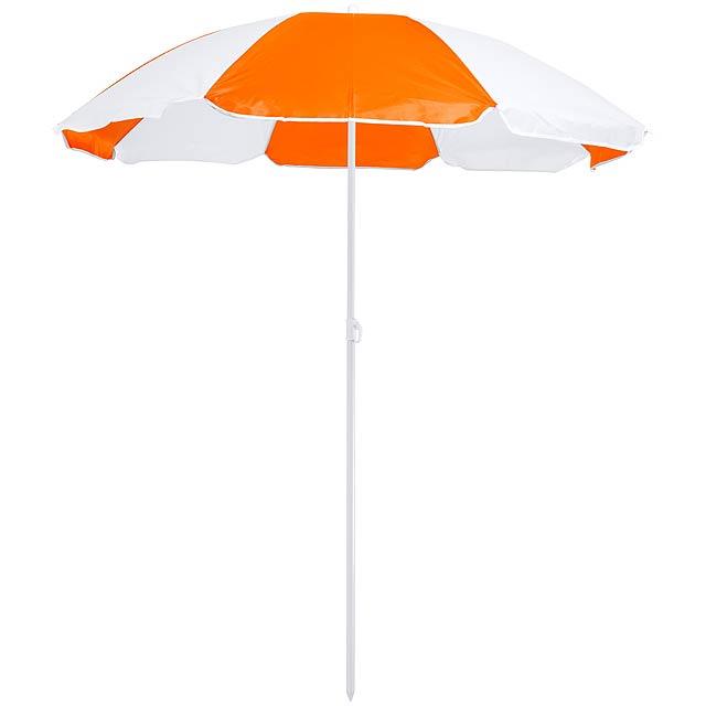 Dvoubarevný slunečník s 8 panely z nylonu a výškově nastavitelným kovovým rámem. S PVC taškou na přenášení. - oranžová - foto