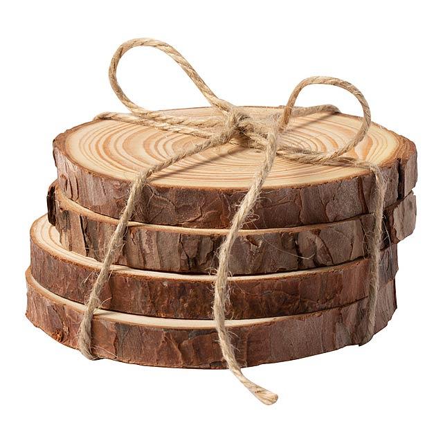 Yantic sada podšálků - dřevo