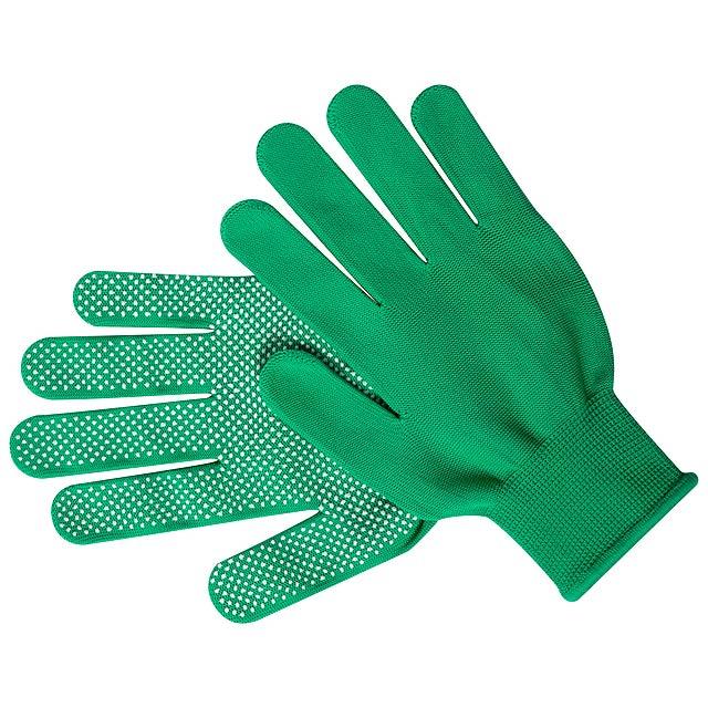 Pár elastických nylonových rukavic s protiskluzovou vrstvou. - zelená - foto