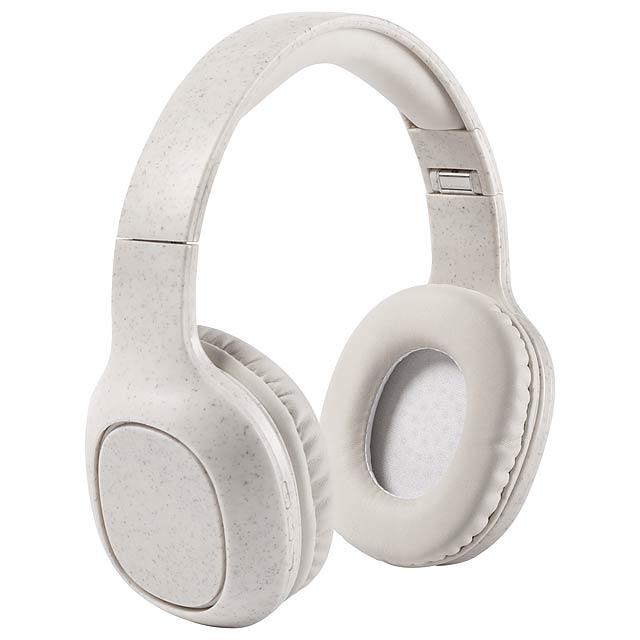 Bluetooth sluchátka z ekologického plastu z pšeničné slámy s koncovkami do uší z PU kůže. S 3,5 mm konektorem audio jack, funkcí hands-free volání a vestavěnou dobíjecí baterií. Včetně nabíjecího kabelu USB. V krabici z kraftového papíru. - béžová - foto
