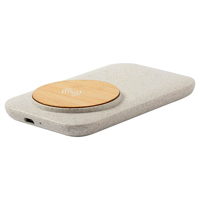 Bezdrátová nabíječka v plastovém pouzdru z ekologické pšeničné slámy s nabíjecí podložkou z bambusu. Max. výstup: 1000 mA. Včetně kabelu USB. - béžová - foto