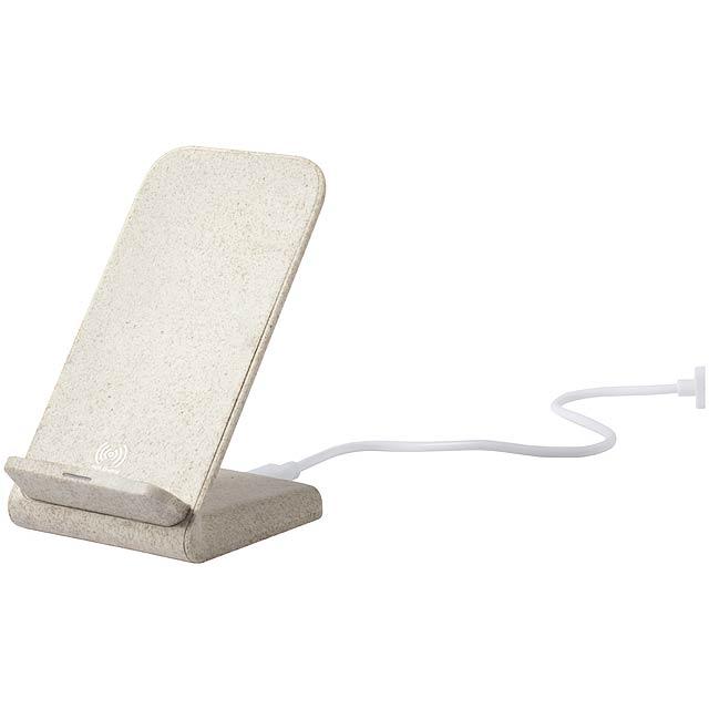 Birniax stojánek na mobil s bezdrátovou nabíječkou - béžová