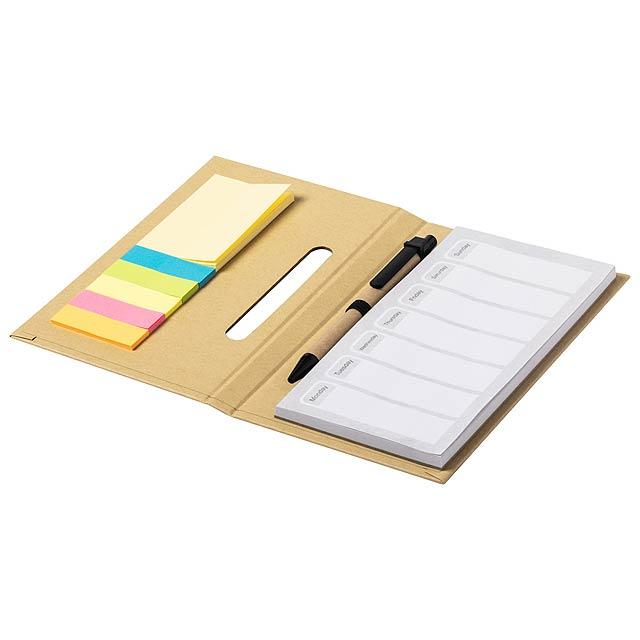 Poznámkový blok s týdenním plánováním a s deskami z recyklované lepenky, se 25 středně velkými a 125 mini lepícími poznámkami. Včetně kuličkového pera z recyklovaného papíru a s modrou náplní. - béžová - foto