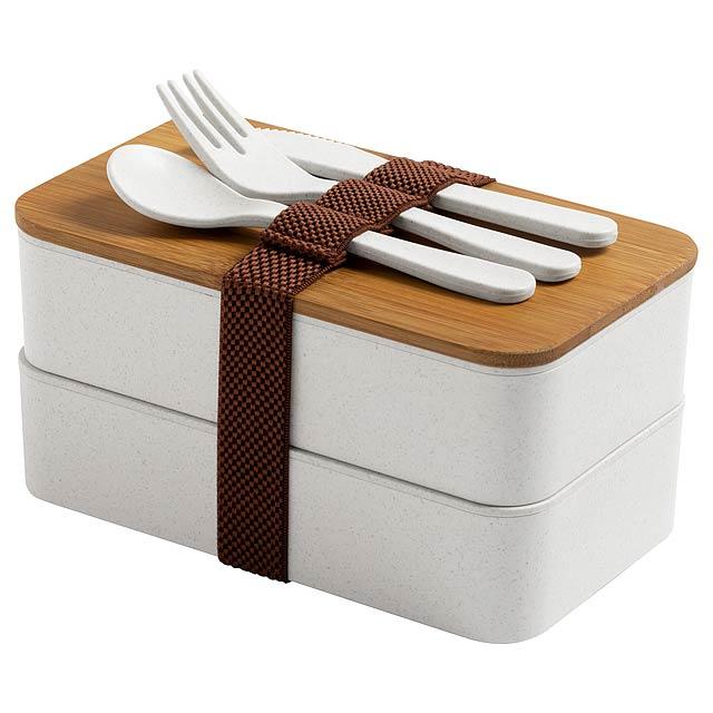 Box na jídlo z ekologického plastu z bambusového vlákna s přírodním bambusovým víčkem, sadou příborů (vidlička, lžíce a nůž) a elastickým popruhem. Každý má 2 oddíly o objemu 700 ml. Bez BPA. Obsah: 700 ml - béžová - foto