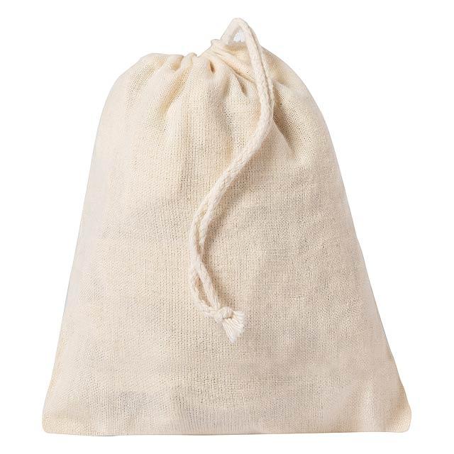 Síťovaná nákupní taška ze 100% bavlny s dlouhými uchy. Včetně malého skládacího pouzdra se šňůrkovým uzávěrem. - béžová - foto