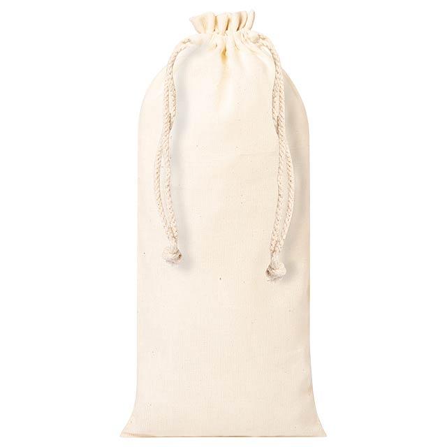 Bavlněná taška na láhev se stahovací šňůrkou. 100% bavlna, 105 g/m². - béžová - foto