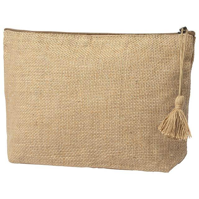 Kosmetická taška na zip z přírodní juty. - béžová - foto
