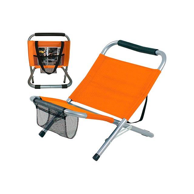 Skládací křeslo se síťovým držákem, polyester 600D. - oranžová - foto